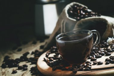 Hot espresso coffee in a glass cup