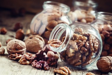 Nuts mix in a glass jars