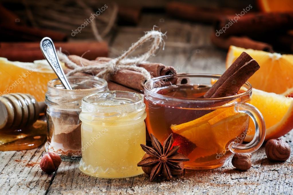 winter thee met sinaasappel, honing en kaneel — stockfoto © 5ph
