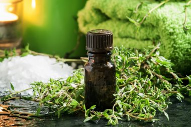 essential oil of thyme in the spa concept