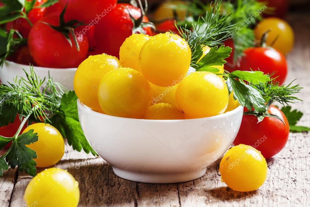 Cherry tomatoes in a porcelain bowls