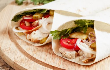 turkish doner kebab, roll with meat and pita bread