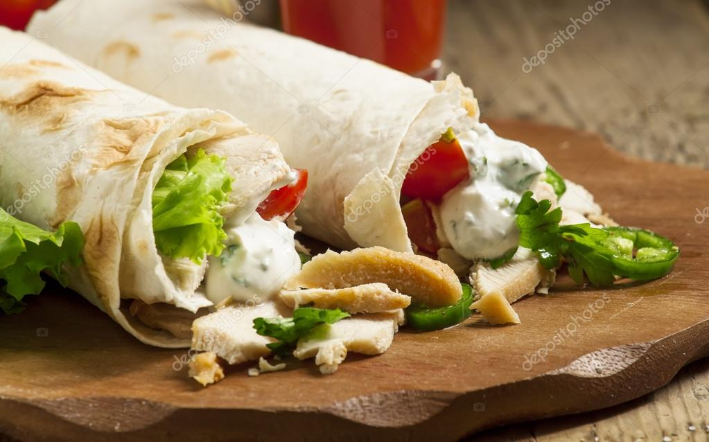 Turkish Doner Kebab Roll With Meat And Pita Bread On Stock Photo Image By C 5ph 116663842