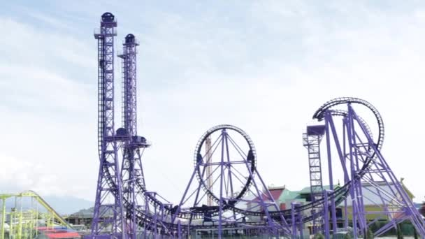 Sochi. Adler. Sochi Park. Roller coaster. Attraction. Extreme. Incredible feeling. Bright emotions. Dizzying impressions. Entertainment, recreation. Amusement park. Overall plan.