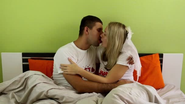 Newlyweds Kissing In Bed Lovers The Bedroom Tenderness Romance Just