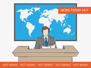 News TV announcer at studio