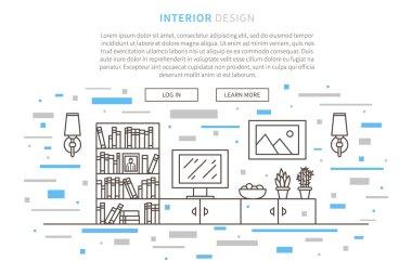 Line graphic design of living room