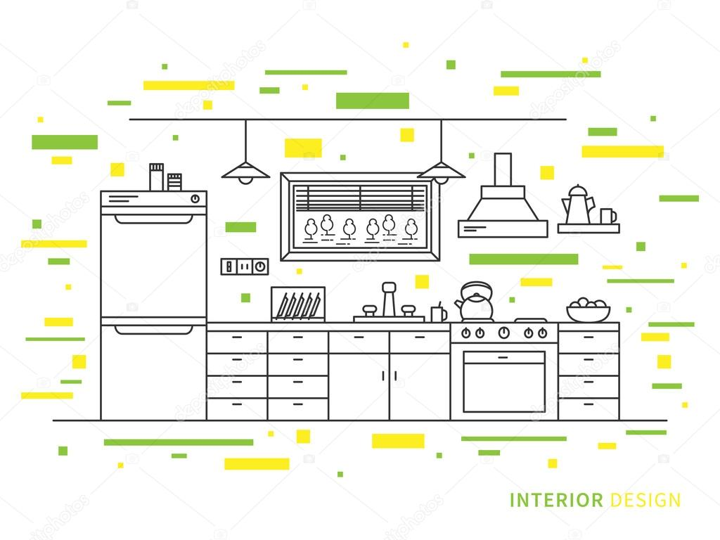 modern designer kitchen interior u2014 stock vector aleksorel 107637044