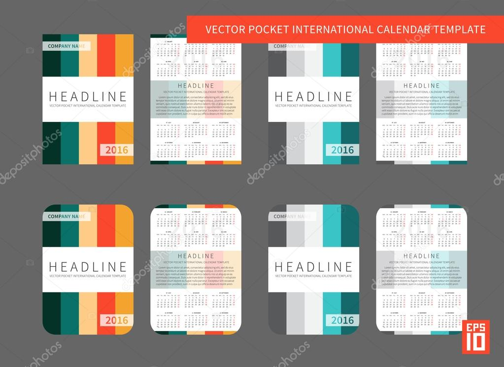 Pocket Calendar Template For Business Stock Vector Aleksorel