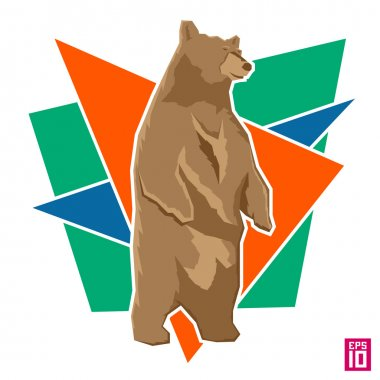 Bear with colorful geometric shapes