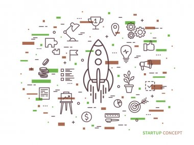 Linear Startup space ship (rocket) vector illustration. Srart-up creative concept. Start up flat graphic design with colorful elements. stock vector