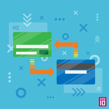 Credit cards transfer processing with arrows