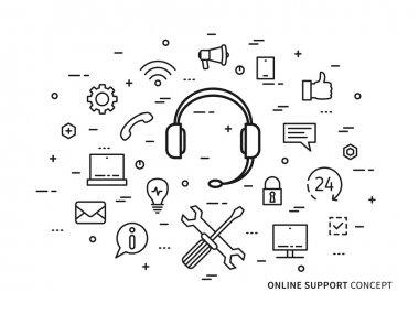 Linear online support (online service, helpdesk, assistance, consultant, online operator) minimal outline vector illustration. Graphic design online support, 24 hour helpline (headphone, headset) stock vector