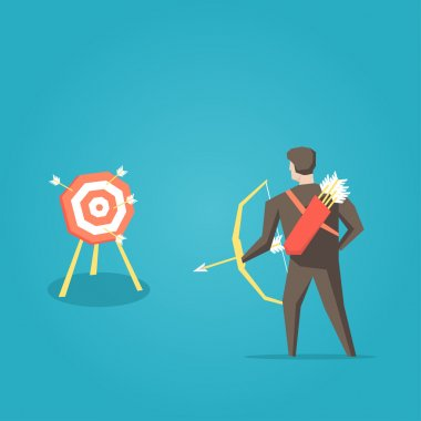 Businessman archer with bow, arrows and target