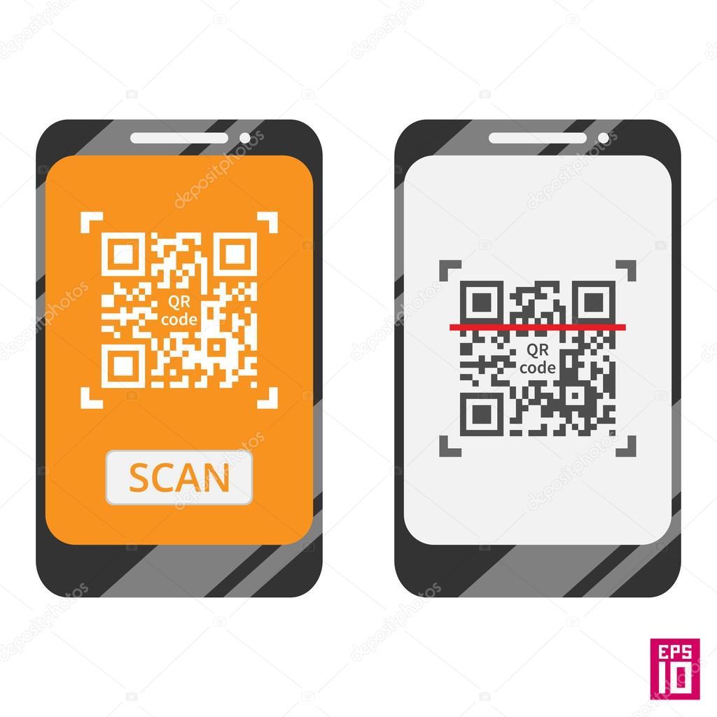 Smartphones scan QR code template