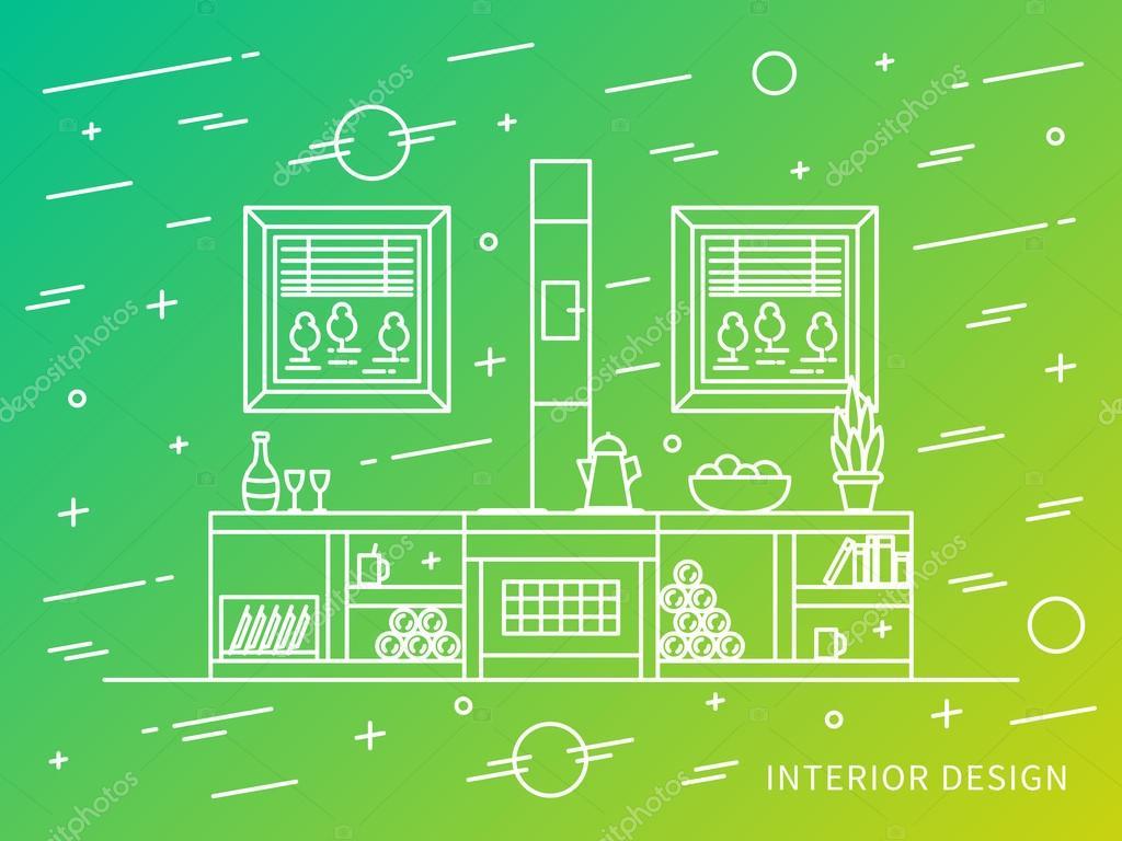 Exposer le concept graphique de vecteur de design dintérieur maison campagne rural vecteur