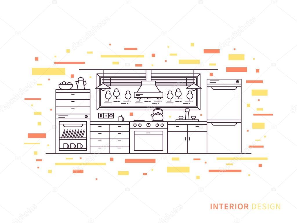 Moderne Designer-Küche Interieur — Stockvektor © AleksOrel #107649914