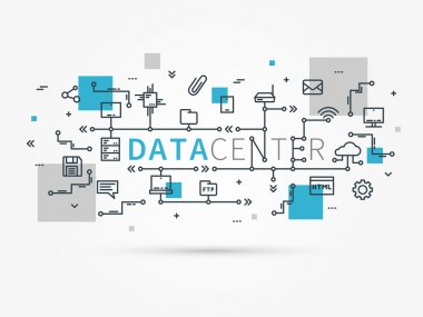 Data center linear concept color