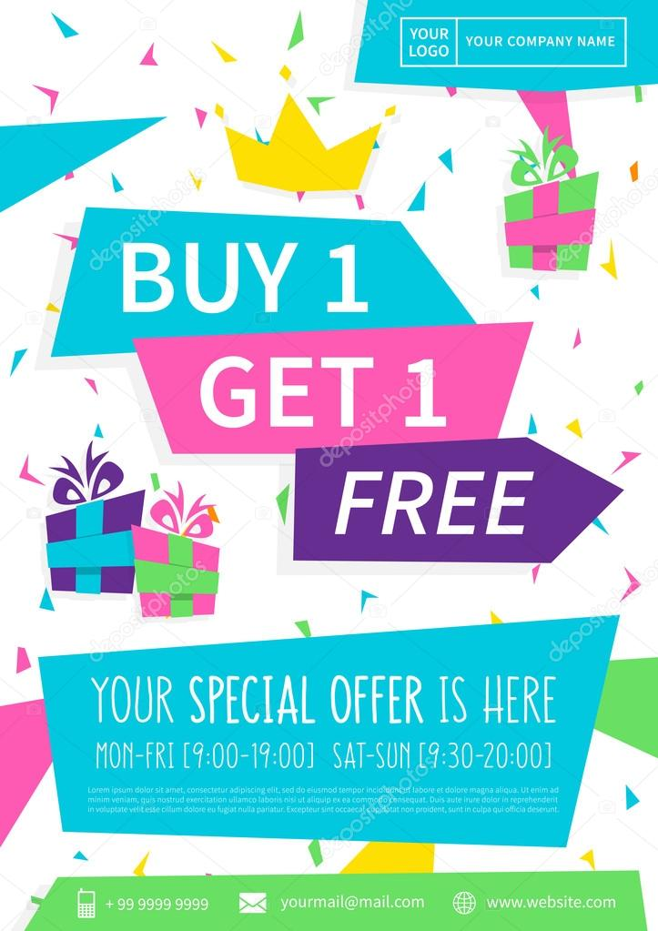 Promotion Banner Buy 1 Get 1 Free Vector Illustration