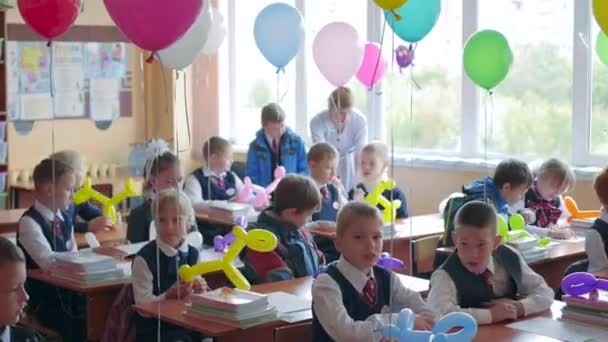 NOVOSIBIRSK, RUSSIA - September 1,2016: children at desks school