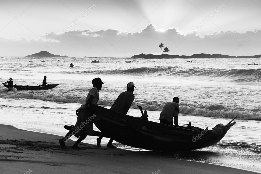 Departure of fishermen in the early morning Vatomandry Madagascar