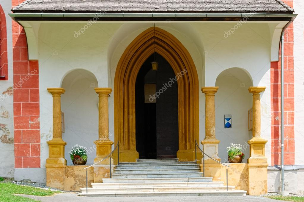 Church Entrance With Nice Architectural Decoration Stock Photo