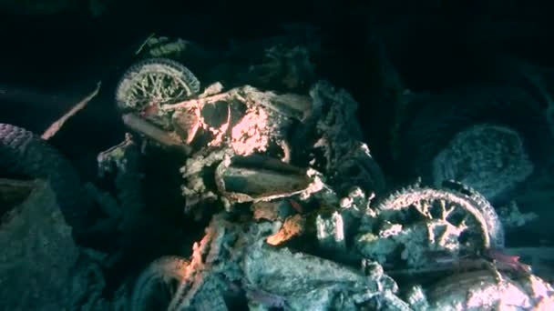 diver inspects motorcycles in the hold of a sunken ship SS Thistlegorm, Red Sea, Sharm el Sheikh, Egypt, Sinai