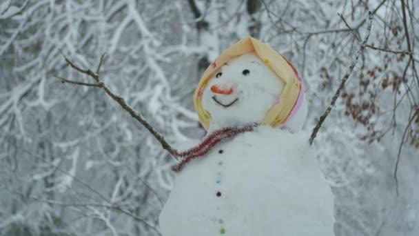 Boldog vicces hóember-nő a háttérben egy erős hóesés. Fényképezőgép nagyítás, Odessa, Ukrajna