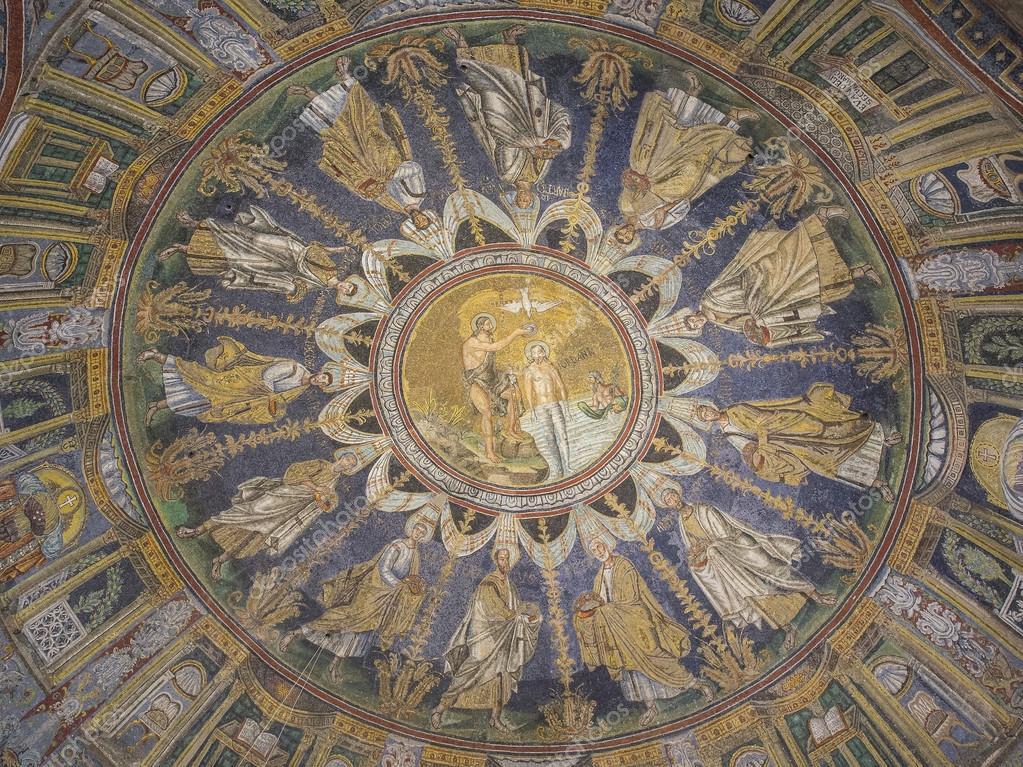 Alte Byzantinische Mosaik Von Der Taufe Jesu Stockfoto