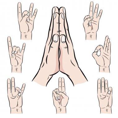 Set of vector mudras hands
