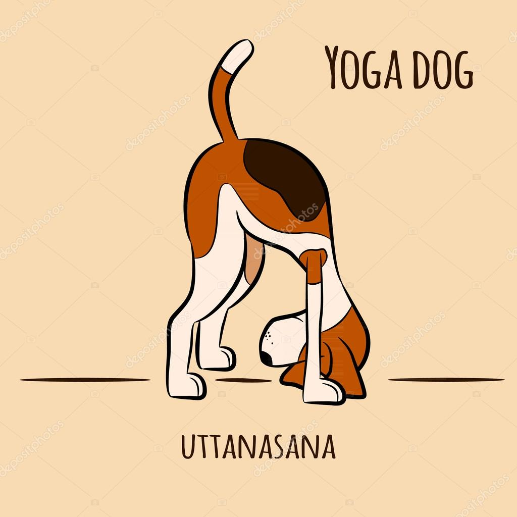 Cartoon Dog Shows Yoga Pose Uttanasana