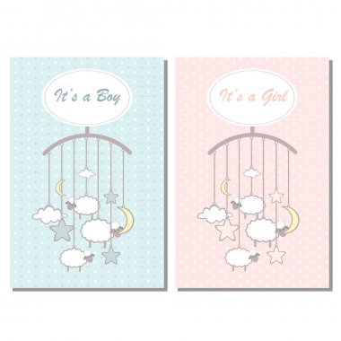 Baby shower boy and girl invitation card