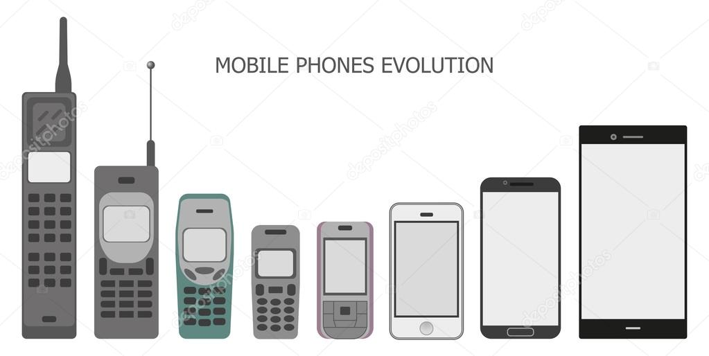 Mobile Phone Evolution Vector Isometric Stock Vector