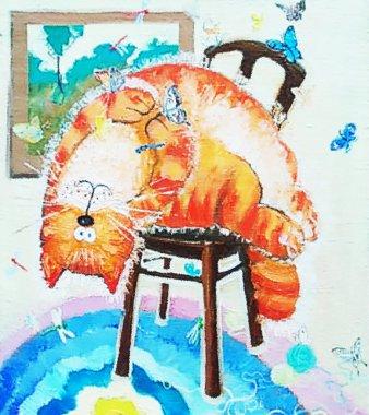 drawing oil. painted cat, beautiful card