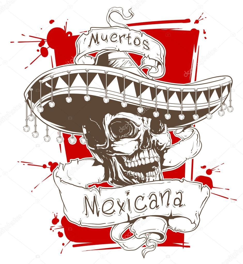 Calavera Mexicana En Sombrero Con Cintas Archivo Imágenes
