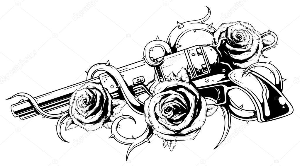 Tatouage De Colt Revolver Avec Roses Image Vectorielle