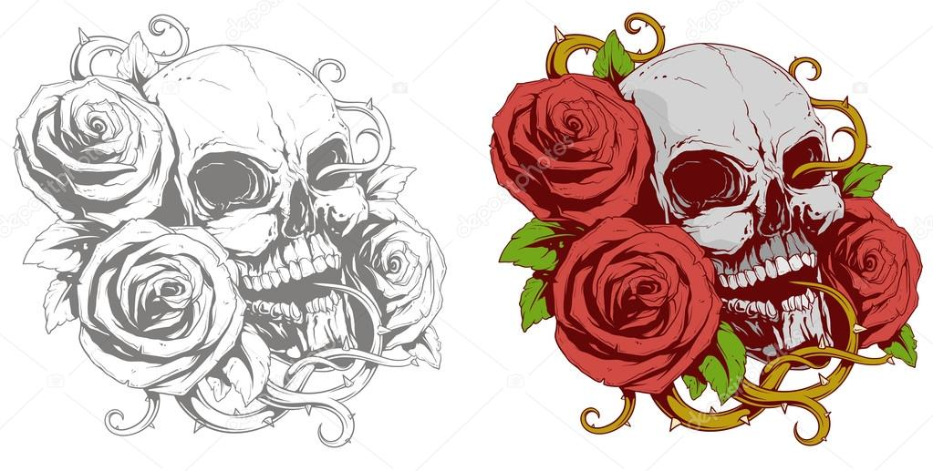 Skull With Red Roses Tattoo Tattoo Of Human Skull With Red Roses