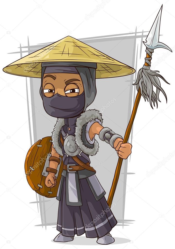 Dessin anim samurai ninja masque noir image vectorielle gb art 119589408 - Dessin anime ninja ...