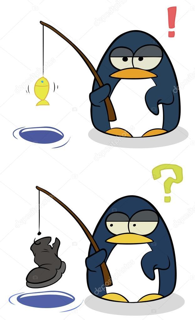 Cartone animato piccoli pinguini con canna da pesca
