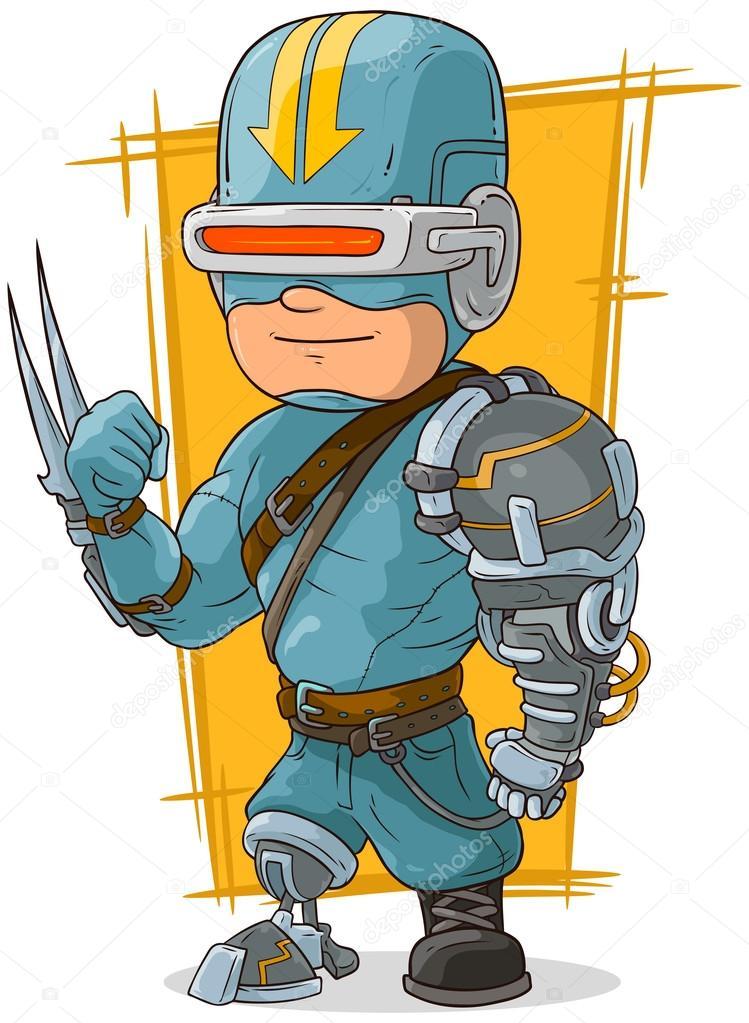 Supereroe del fumetto fresco cyborg da combattimento u2014 vettoriali