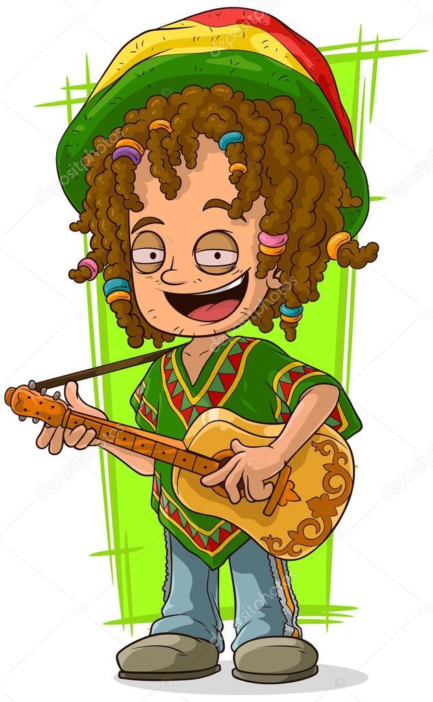Dessin anim rastaman heureux avec guitare image vectorielle gb art 120386374 - Dessin de rasta ...