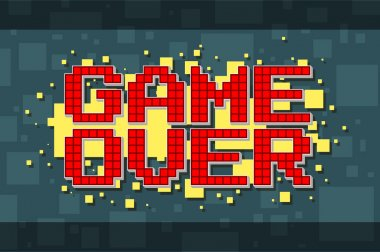 A vector illustration of Pixel red game over screen on yellow background stock vector