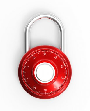 Red 3D combination chrome pad lock on a white background