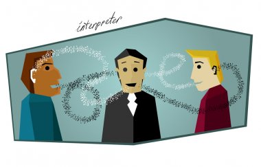 simultaneous interpreter translates the conversation