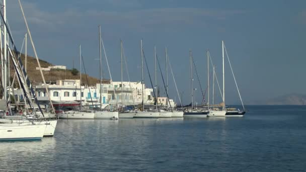 Yachts at the waterfront of a small Greek town.