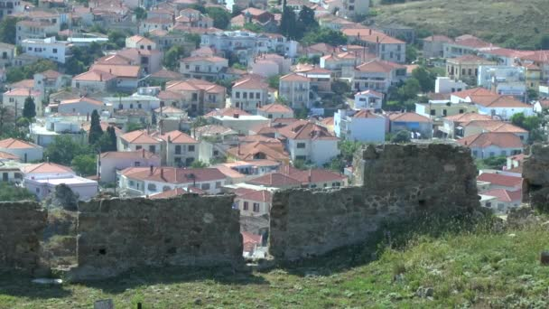 View of the Greek town between the prongs of  fortress wall.