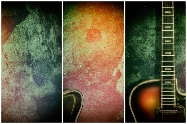 Old, jazz electric guitar on a multicolored grunge background. Different variants Copy space. Background for music festivals, concerts. Musical education. Concert concept. Musical instruments.
