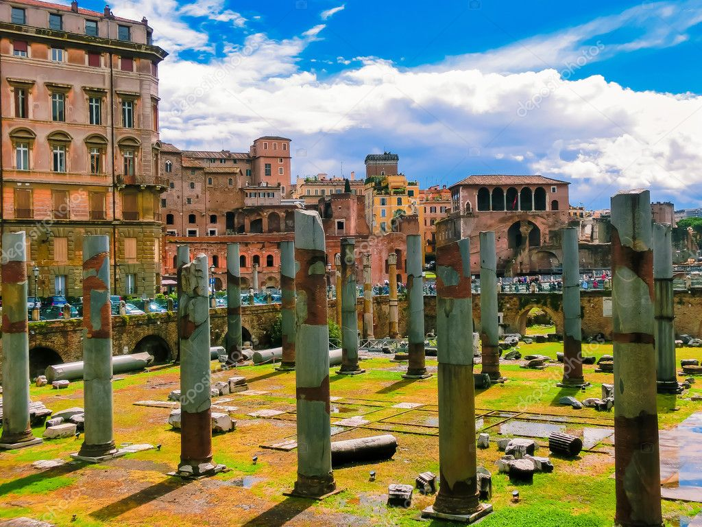 The view of ancient ruins in roman forum in Rome, Lazio, Italy