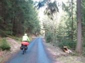 Radweg in Sachsen an der Oberlausitz im Frühling. Sächsische Schweiz, Sachsen, Deutschland, Europa im Winter oder Frühling