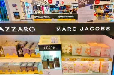 Antalya, Turkey - May 11, 2021: Shop display of different types of perfume from Dior, Azzaro and Mark Jaccobs